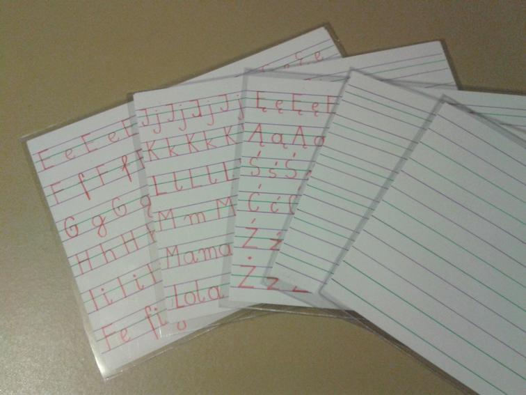 Plansze do nauki pisania dla dzieci niedowidzących i słabowidzących 3